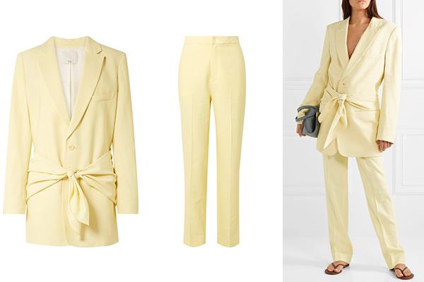 TIBI 大廓形斜纹布西装式外套$968/TIBI Sebastian 斜纹布直筒长裤$507