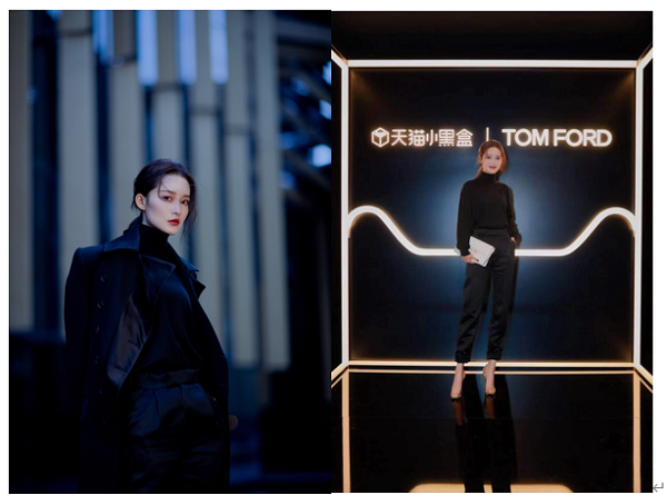 李沁身着一身TOM FORD黑色裤装亮相,兼顾优雅帅气,中号白色蟒蛇皮001手袋,更是成为整体造型的点睛之笔