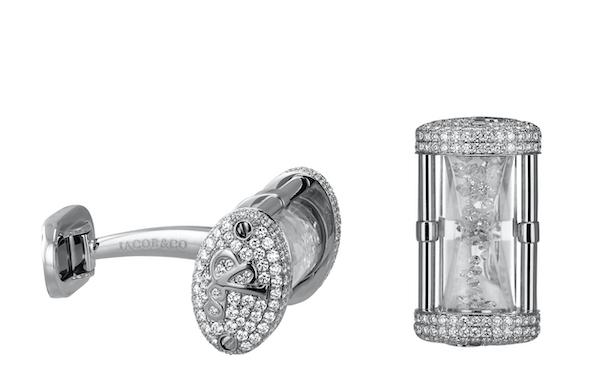 Jacob&Co.杰克宝HOUR GLASS CUFFLINK-袖扣 约31.6 G 白钻浮动18K白金