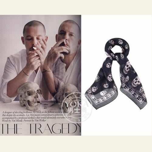 【潮男】大牌处女buy:Alexander Mcqueen骷髅印花围巾