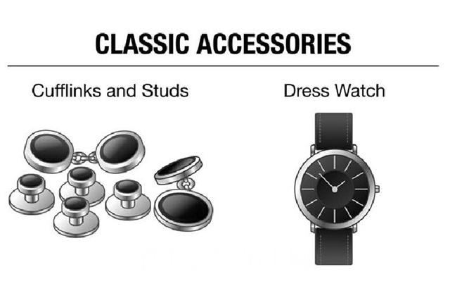 配饰方面必不可少的就是袖扣和腕表了。