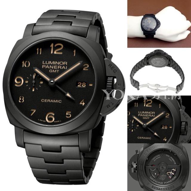 沛纳海LUMINOR 1950系列3日动力储存两地时间自动陶瓷腕表(PAM00438)