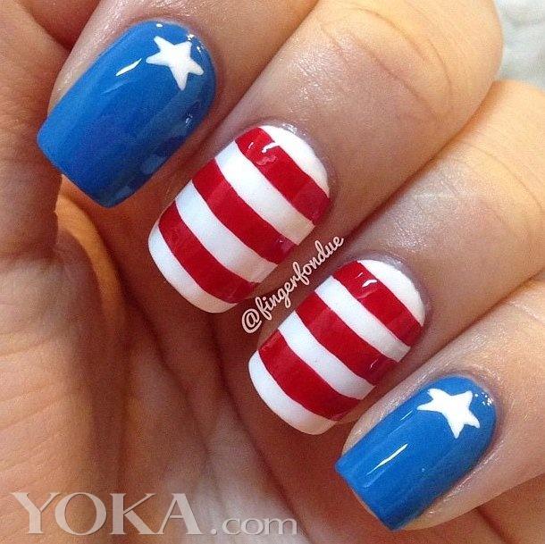 指尖上的国旗 15种美国国旗美甲