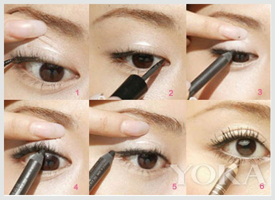 眼线的最低标准就是要保持线条流畅  双眼皮:自然眼线 双眼皮:自然眼线 双眼皮基本上适合所有的眼线,在日常妆容里自然眼线是最常用的。掌握了自然眼线的画法,像猫眼眼线、下垂眼线,都可以通过这种方式来画。 眼线的最低标准就是要保持线条流畅。但对于手残星人来说要告别坑坑洼洼的线条实在是臣妾做不到啊!  眼线定点标记画法 阿治老师教你眼线定点标记画法: 1.