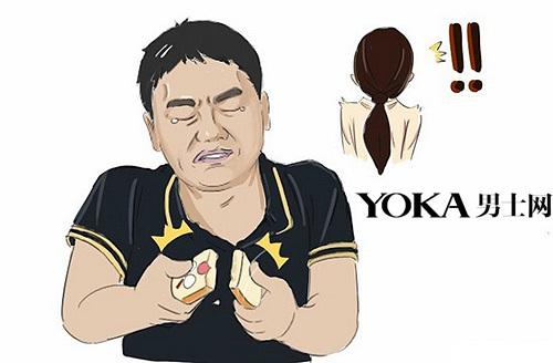 卡通人物喝奶茶