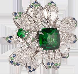 绿花型戒指