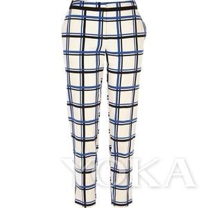 英伦格纹裤