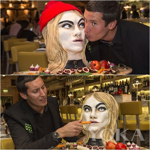 爱慕Cara的男士制作的Cara肖像蛋糕