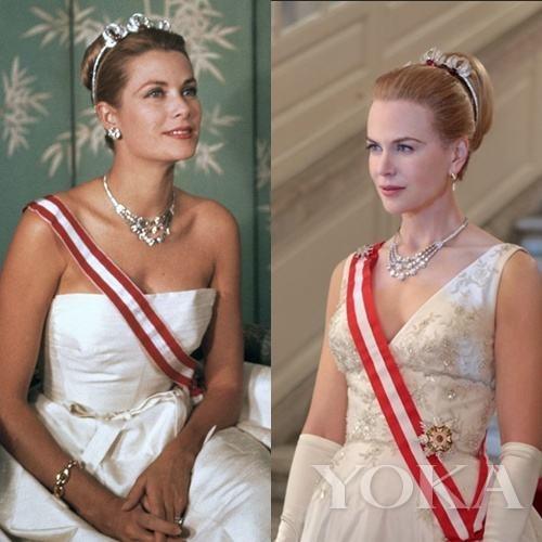 注意,这套珠宝可是卡地亚特别赞助剧组的,根据当年给格蕾丝做的完美复刻了一套