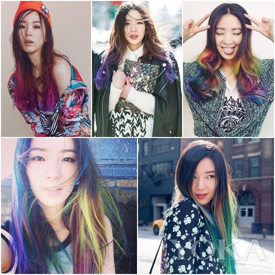 如彩虹般的挑染发色是Irene Kim的标志