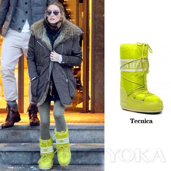奥利维亚着Tecnica月球靴,Tecnica是生产这款鞋履最闻名的品牌