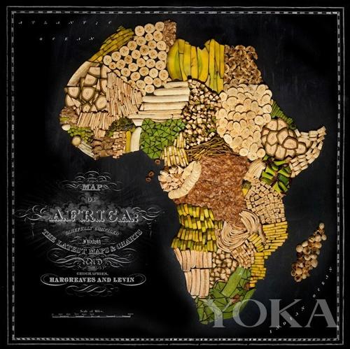 舌尖上的世界 用食物拼成世界地图