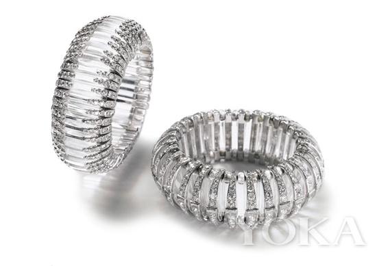 卡地亚1930年创作的无色水晶、铂金和钻石手链