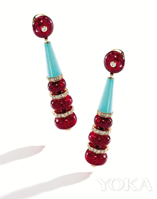 BVLGARI宝格丽耳环,18K金,镶嵌-尖晶石、绿松石和钻石