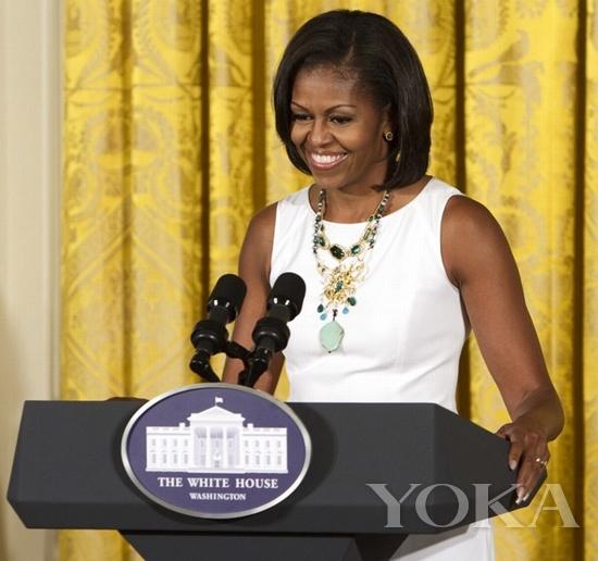 美国第一夫人Michelle Obama佩戴Alexis Bittar项链
