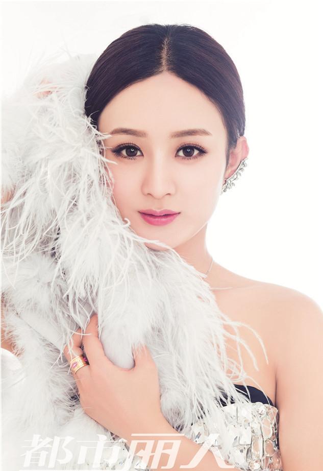 赵丽颖变情人节公主 香肩微露娇艳浪漫
