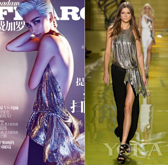 李冰冰身着Versace 2014春夏系列登《费加罗》5月上封面